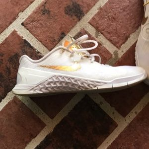 Nike Shoes - white and gold nike sneakers